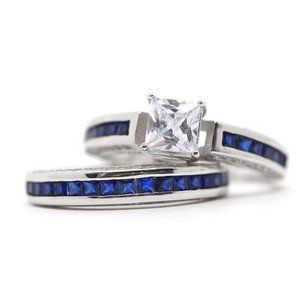White and Blue Princess Topaz Engagement Ring